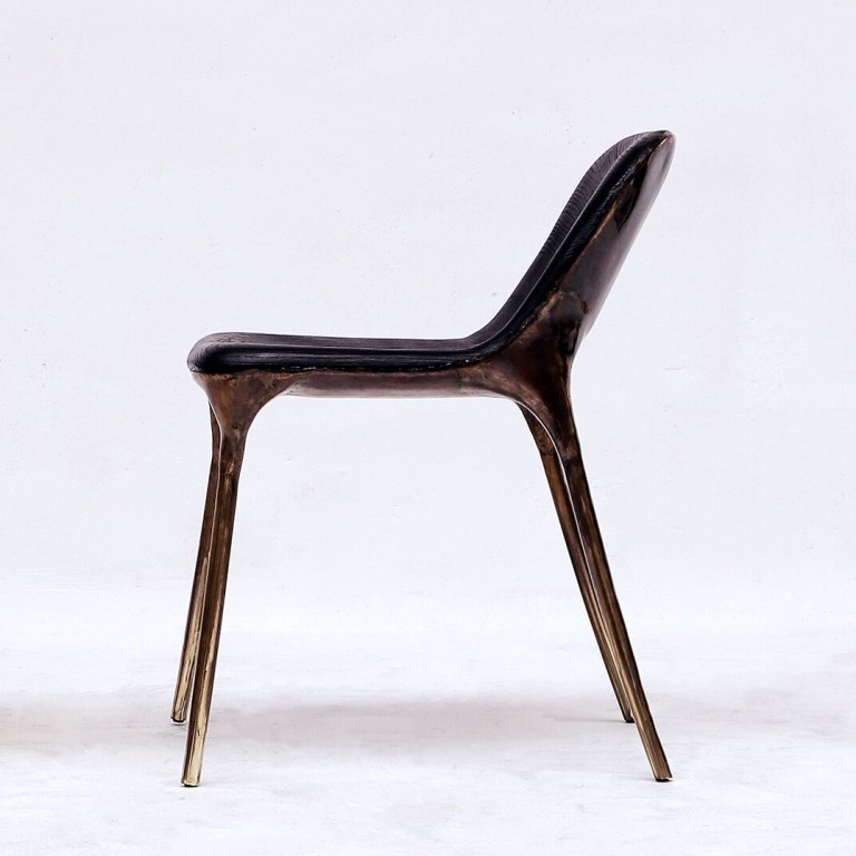 Valentin Loellmann  - Brass - Black Chair with Closed Back